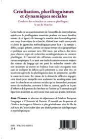 Créolisation, plurilinguismes et dynamiques sociales ; conduire des recherches en contexte plurilingue : le cas de Maurice - 4ème de couverture - Format classique