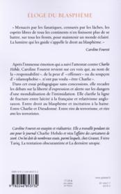 Éloge du blasphème - 4ème de couverture - Format classique