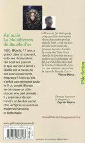 Animale ; la malédiction de Boucle d'Or - 4ème de couverture - Format classique