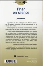 Prier en silence - 4ème de couverture - Format classique