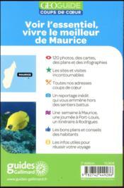 GEOguide coups de coeur ; Maurice - 4ème de couverture - Format classique