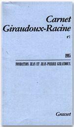 Carnet Giraudoux-Racine t.1 - Couverture - Format classique