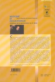 Musique et dramaturgie esthetique de la representation au xxe siecle - 4ème de couverture - Format classique