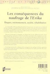 Les consequences du naufrage de l'erika risques, environnement, societe, rehabilitation - 4ème de couverture - Format classique