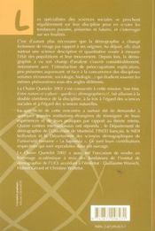 Entre Nature Et Culture Quelle(S) Demographie(S) - 4ème de couverture - Format classique