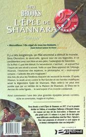 Shannara t.1 ; l'épée de shannara - 4ème de couverture - Format classique