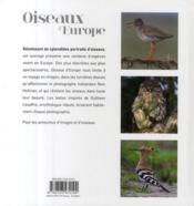 Oiseaux d'Europe - 4ème de couverture - Format classique