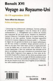 Voyage au Royaume-Uni ; 16-19 septembre 2010 - 4ème de couverture - Format classique