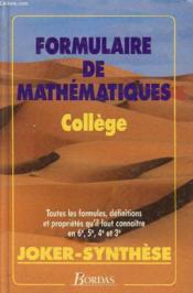 Formulaire De Mathematiques - College - Couverture - Format classique