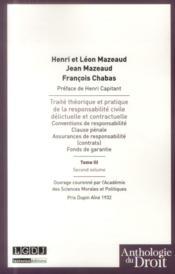 Traité théorique et pratique de la responsabilité civile délictuelle et contractuelle t.3 ; second volume - Couverture - Format classique