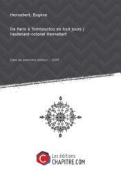 De Paris à Tombouctou en huit jours / lieutenant-colonel Hennebert [Edition de 1889] - Couverture - Format classique