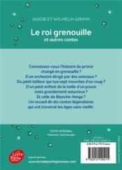 Le roi grenouille et autres contes - 4ème de couverture - Format classique