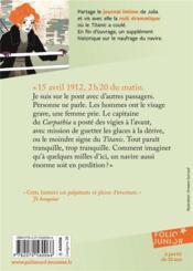 S.O.S. Titanic ; journal de Julia Facchini, 1912 - 4ème de couverture - Format classique