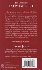 Les duchesses T.4 ; Lady Isidore - 4ème de couverture - Format classique