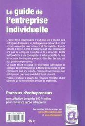 Le Guide De L'Entreprise Individuelle - 4ème de couverture - Format classique