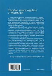 Éducation, sciences cognitives et neurosciences - 4ème de couverture - Format classique
