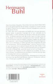 Hermann Buhl ou l'invention de l'alpinisme moderne - 4ème de couverture - Format classique
