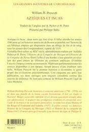 Azteques Et Incas - 4ème de couverture - Format classique