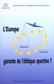 Europe, garante de l'ethique sportive (l') - Intérieur - Format classique