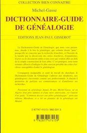 Dictionnaire-Guide De Genealogie - 4ème de couverture - Format classique