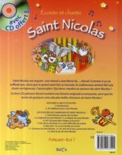 Écoute et chante ; Saint Nicolas - 4ème de couverture - Format classique