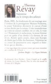Valentine ou le temps des adieux - 4ème de couverture - Format classique