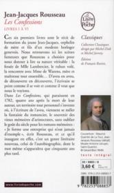 Les confessions t.1 (édition 2012) - 4ème de couverture - Format classique