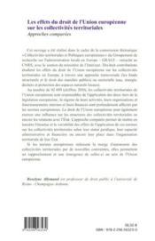 Les effets du droit de l'Union européenne sur les collectivités territoriales ; approches comparées - 4ème de couverture - Format classique