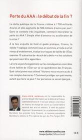 France, la faillite ? après la perte du AAA ; des conseils pour protéger votre patrimoine - 4ème de couverture - Format classique