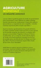 Agriculture mondiale : un désastre annoncé - 4ème de couverture - Format classique