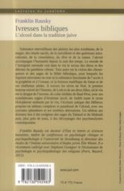 Ivresses bibliques ; l'alcool dans la tradition juive - 4ème de couverture - Format classique