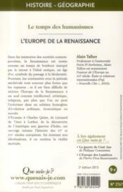 L'Europe de la Renaissance (2e édition) - 4ème de couverture - Format classique