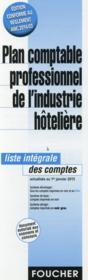 Plan comptable professionnel de l'industrie hôtelière - Couverture - Format classique