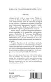 Philida - 4ème de couverture - Format classique