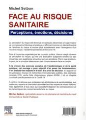 Face au risque sanitaire : perceptions, émotions, décisions - 4ème de couverture - Format classique