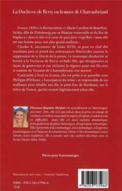 La duchesse de Berry ou la muse de Chateaubriand - 4ème de couverture - Format classique