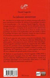 La jalousie amoureuse (5e édition) - 4ème de couverture - Format classique