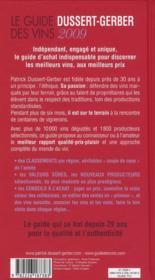 Le guide Dussert-Gerber des vins (édition 2009) - 4ème de couverture - Format classique