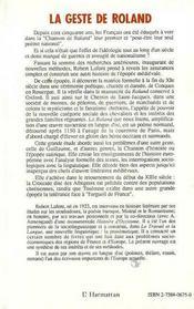 Geste De Roland Tome1 L'Epopee De La Frontiere - 4ème de couverture - Format classique