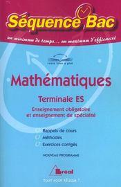 Mathématiques ; Terminale S - Intérieur - Format classique