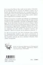 Echanges Culturels Au Moyen Age - 4ème de couverture - Format classique