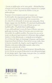 Le Pas Philosophique De Roland Barthes - 4ème de couverture - Format classique