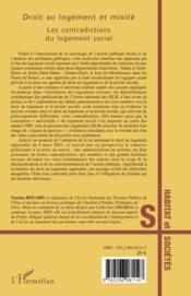 Droit au logement et mixité ; les contradictions du logement social - 4ème de couverture - Format classique