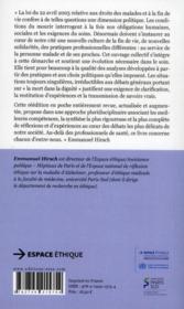 Fins de vie, éthique et société - 4ème de couverture - Format classique