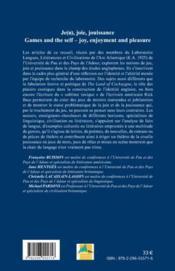 RIVES ; CAHIERS DE L'ARC ATLANTIQUE N.4 ; je(u), joie, jouissance ; littérature, civilisation et linguistique ; games and the self-joy, enjoyement and pleasure - 4ème de couverture - Format classique