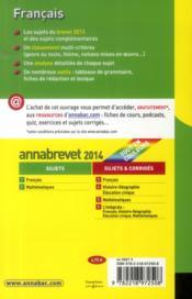 Annabrevet Sujets T.1 ; Français (Edition 2014) - 4ème de couverture - Format classique