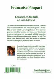 Conscience animale ; le lien d'amour - 4ème de couverture - Format classique