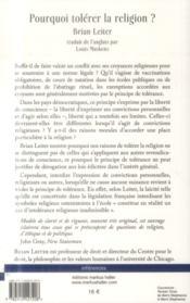 Pourquoi tolérer la religion ? ; une investigation philosophique et juridique - 4ème de couverture - Format classique