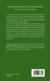 Panafricanisme ou postcolonialisme ? la lutte en cours en Afrique - 4ème de couverture - Format classique