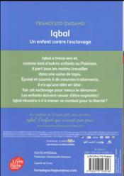 Iqbal, un enfant contre l'esclavage - 4ème de couverture - Format classique